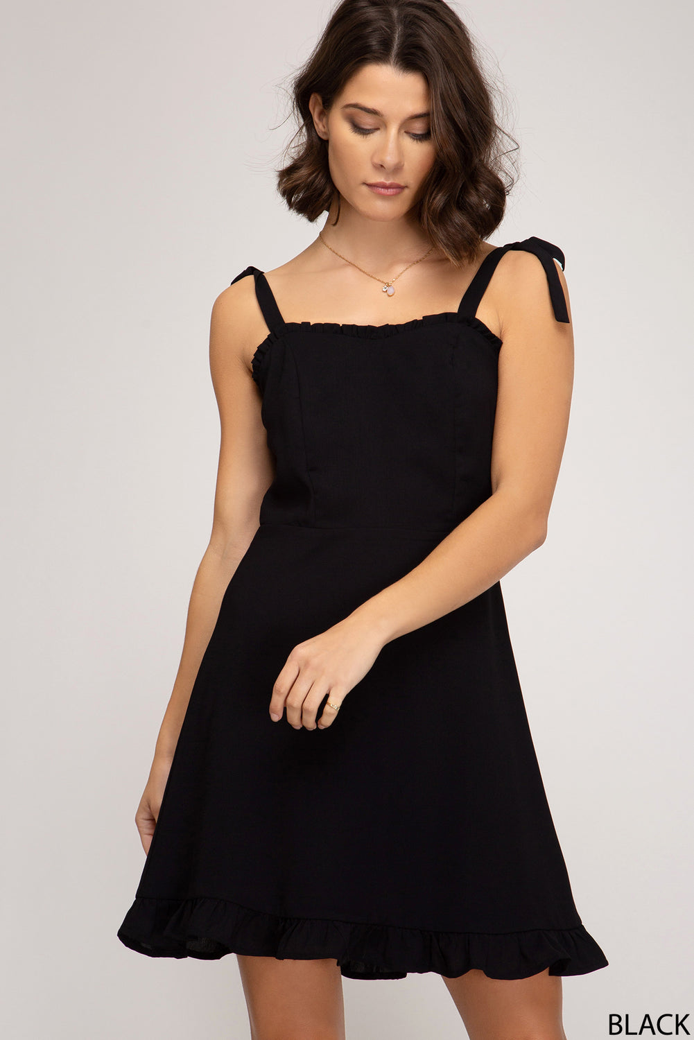 SLEEVELESS WOVEN RUFFLED DRESS WITH SHOULDER TIES