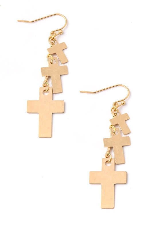 Cross Tiered Metallic Earrings