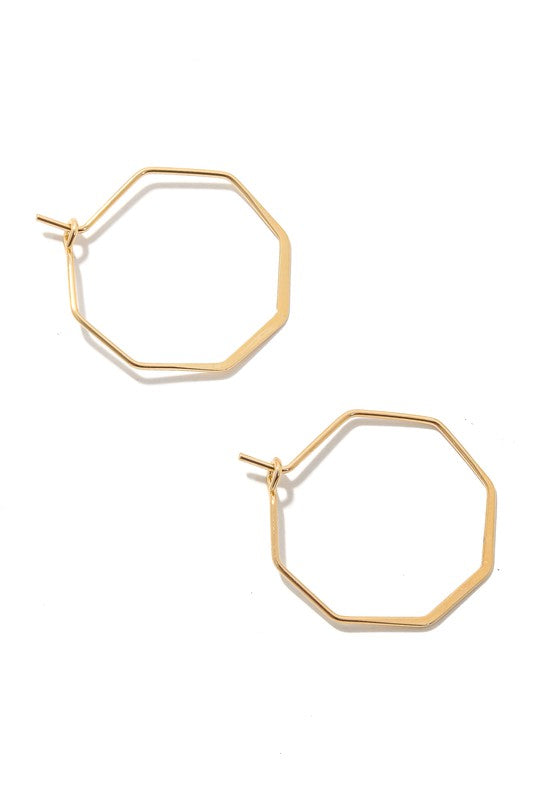Metallic Hexagon Hoop Earrings