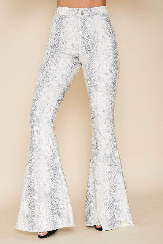 Animal printed flare denim pants
