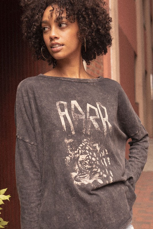 Leopard Vintage Washed Long-Sleeve Graphic Tee