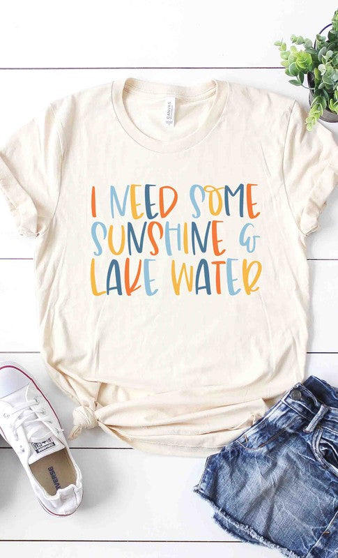 Sunshine and lake water graphic tee PLUS