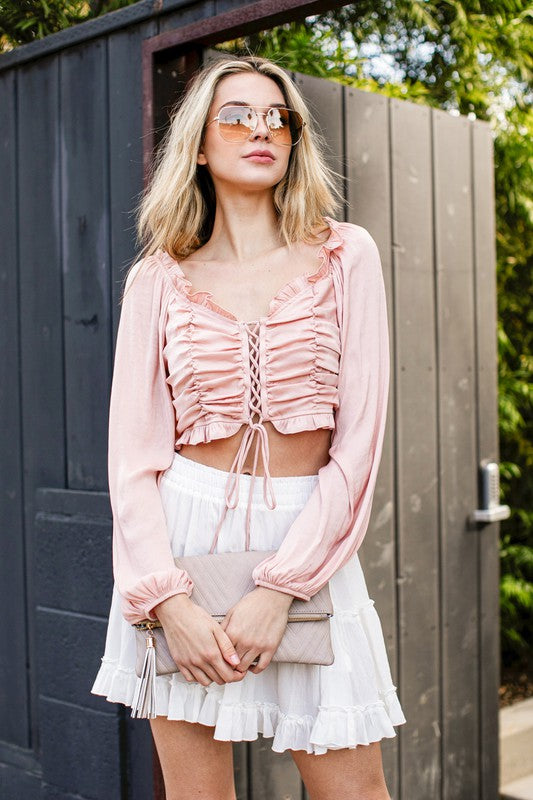 BUBBLE SLEEVE SATIN SHIRRED SMOCKED CROP TOP