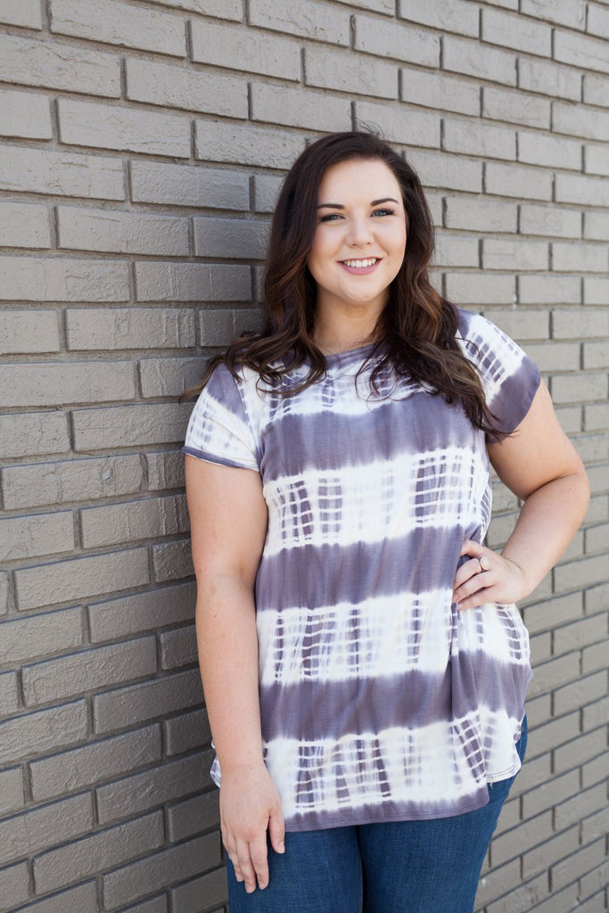 Tie Dye Casual Short Sleeve Tunic Top