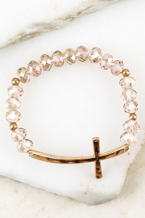 BRACELET WITH TEXTURED CROSS ACCENT
