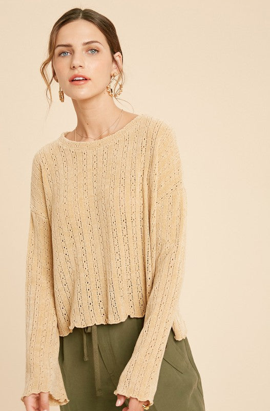 CROCHET CHENILLE KNIT SWEATER