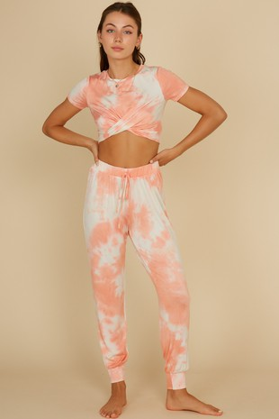 TWIST DETAIL TIE DYE TOP AND PANTS SET