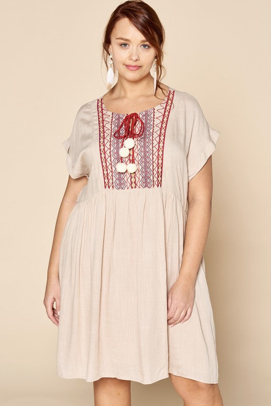Solid Babydoll Dress with Embroidery Details