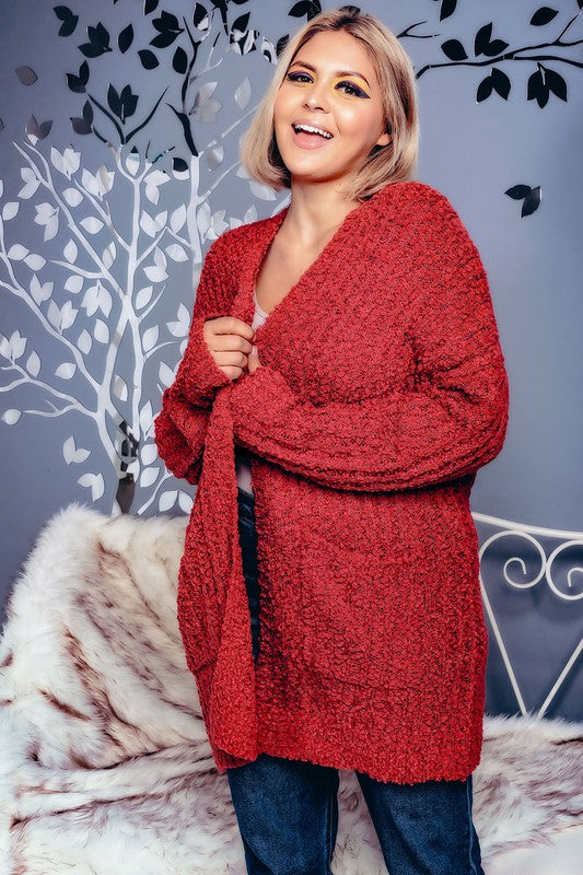 PLUS SIZE LIGHT POPCORN KNIT LONG RIBBED CARDIGAN