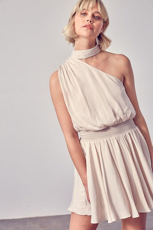 One Shoulder Pleated Dress