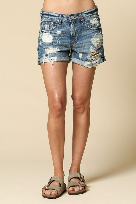 Boyfriend fit denim shorts