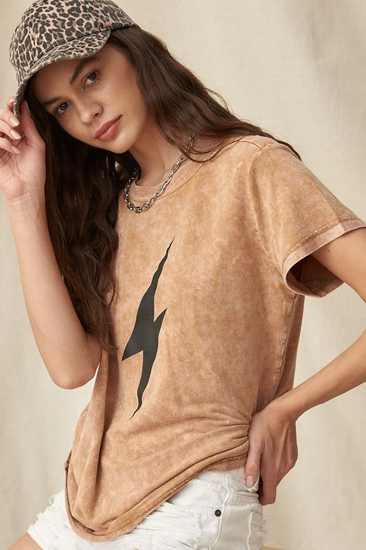 Mineral Washed Lightning Bolt Graphic Tee