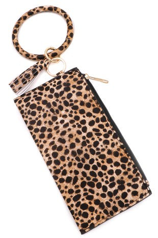 Leopard print ring key chain zipper pouch