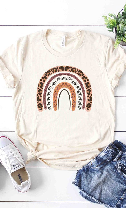Leopard print happy rainbow graphic tee