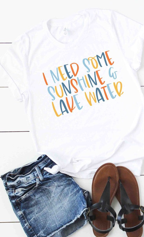 Sunshine and lake water graphic tee
