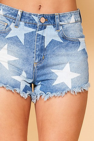 Star printed denim shorts