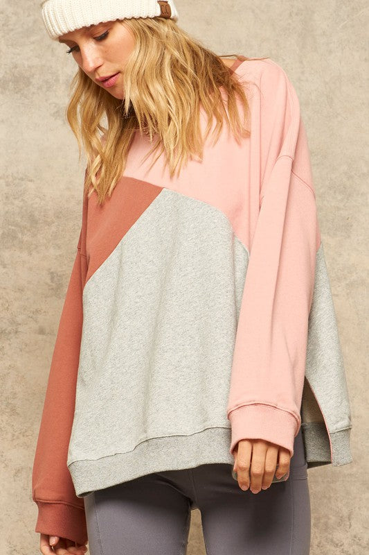 Colorblock Sweatshirt with Side Slits