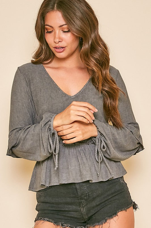 Long Sleeve Rib Knit Wrist Tie Peplum Top