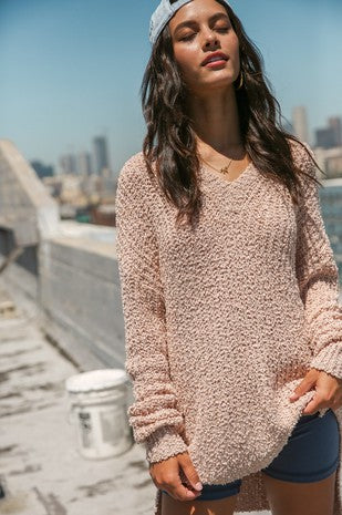 Popcorn textured V-neck pullover knit sweater/Final Sale