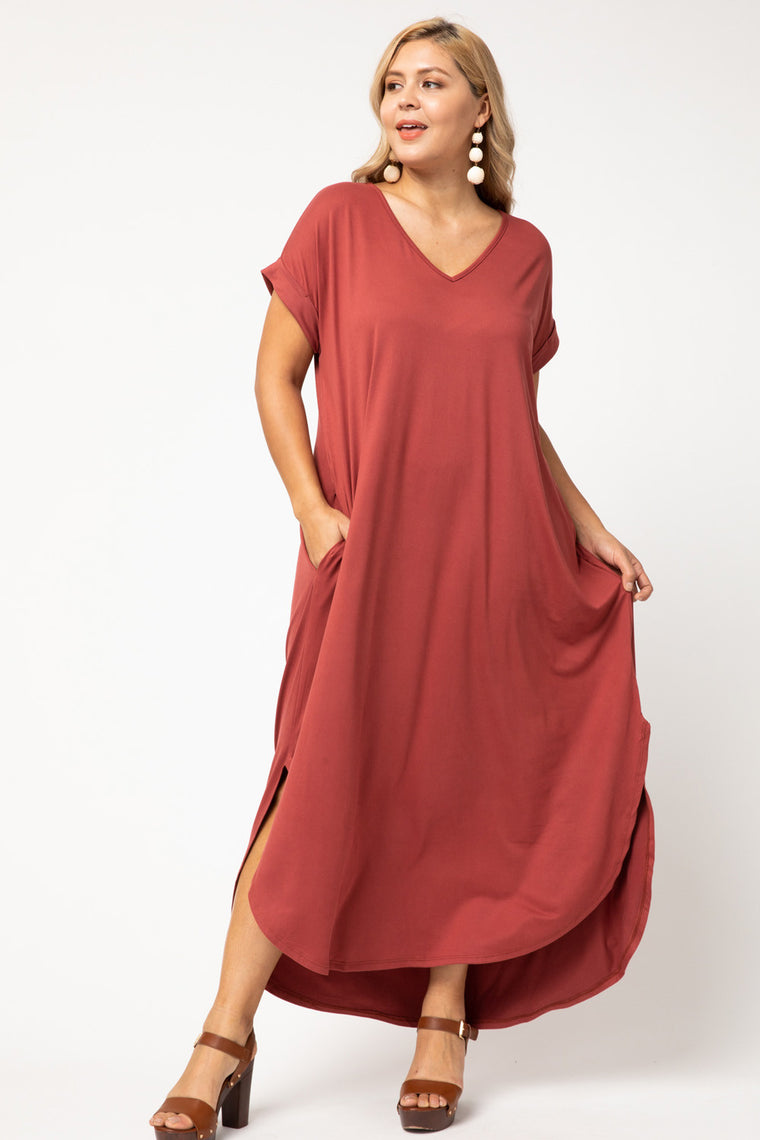 Jersey knit scoop-neck maxi dress
