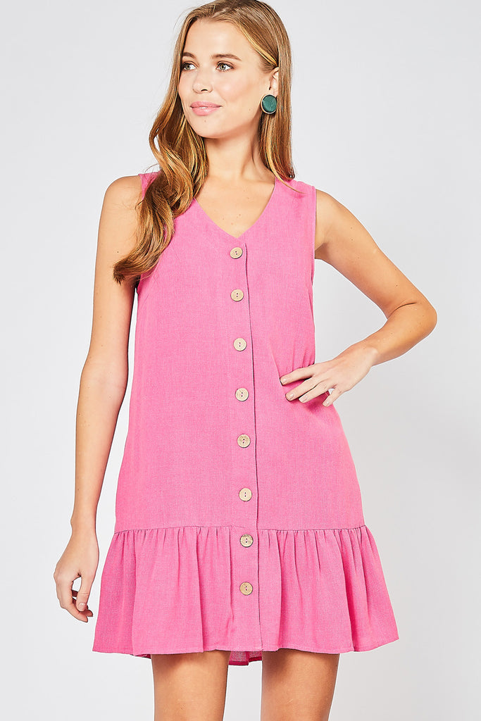 V-neck button-up dress
