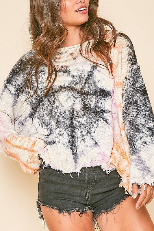 Relaxed Fit Tie Dye Raw Edge Crop Sweater