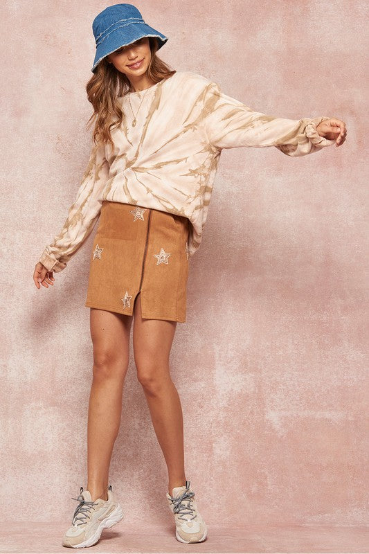 Embroidered Stars Faux Suede Zip-Up Mini Skirt