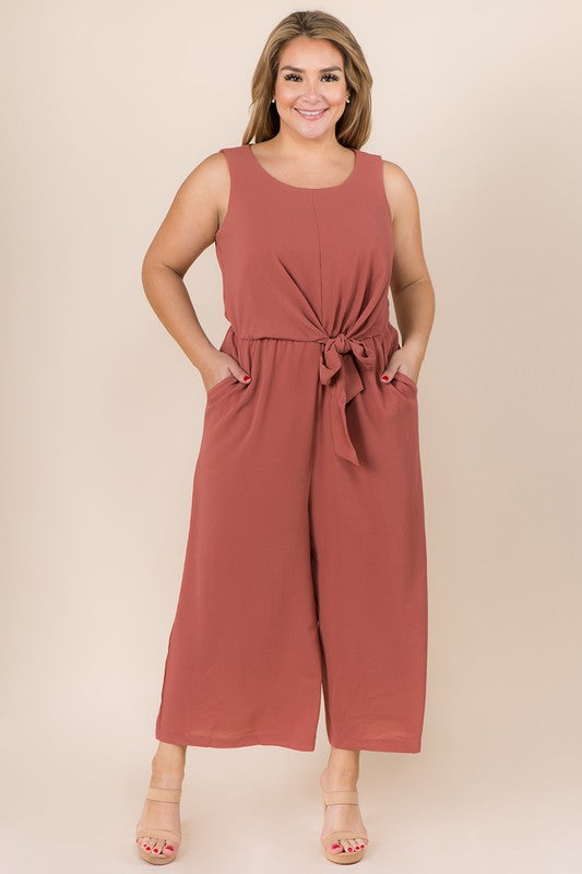 PLUS SIZE SOLID JUMPSUIT