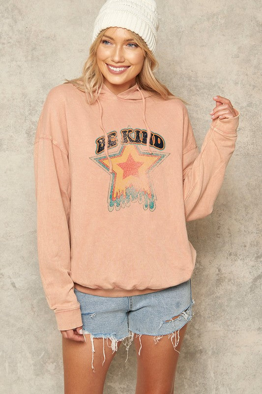 Be Kind Vintage French Terry Graphic Hoodie Top