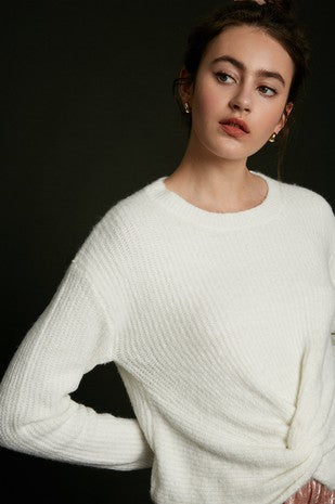 Front knot ribbed pullover eyelash sweater