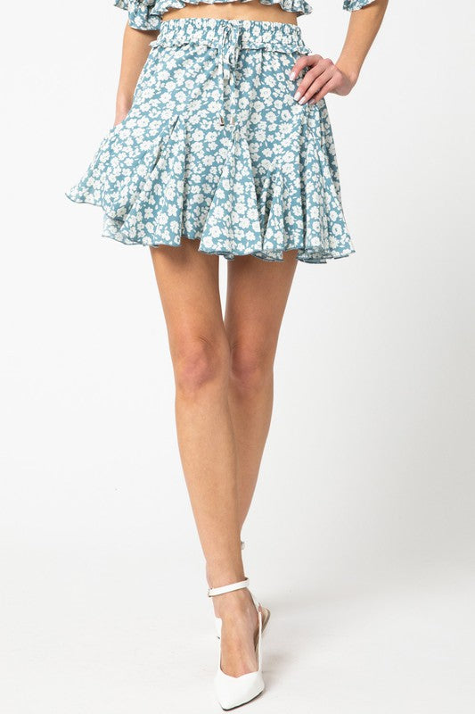 Floral print ruffle skirt w drawstring at waist