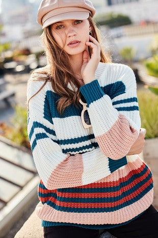 Round Neck Long Sleeve Color Block Loose Fit Sweater