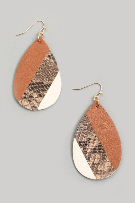 Striped Faux Leather Teardrop Earrings