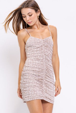 Sleeveless Mesh Ruched Fitted Mini Dress