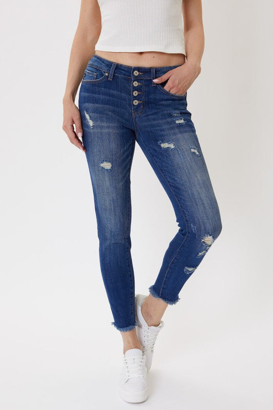 Mid Rise Button Fly Ankle Skinny Jeans - KC5029D