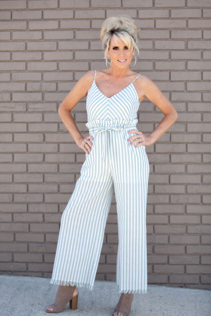 Striped Pocket Self-Tie Jumpsuit