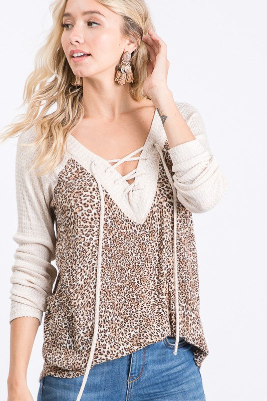 LACE UP FRONT ANIMAL PRINT WAFFLE KNIT TOP