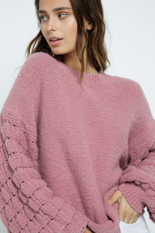 TEXTURED BUBBLE SWEATER