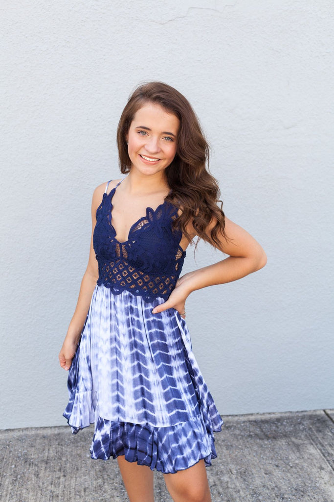 TIE DYE LACE TANK DRESS