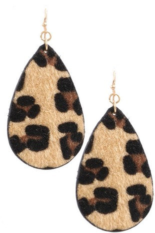 Faux fur leopard teardrop earrings