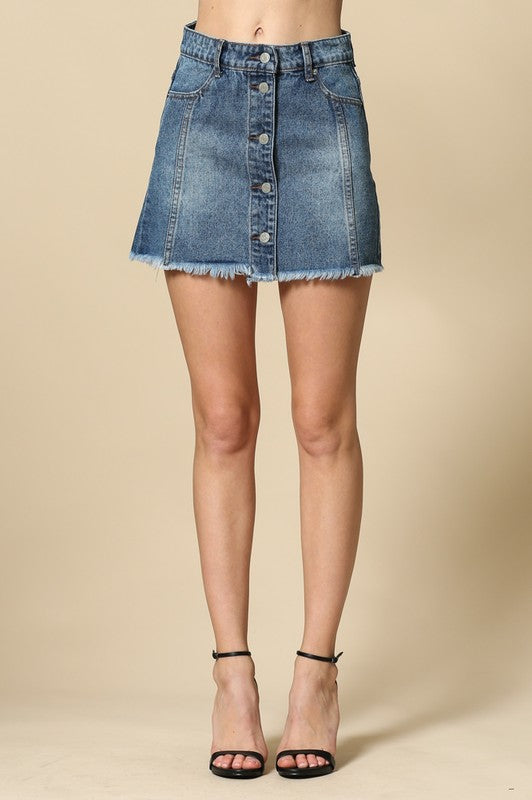 Button down with pockets denim skirt with distressed bottom hem
