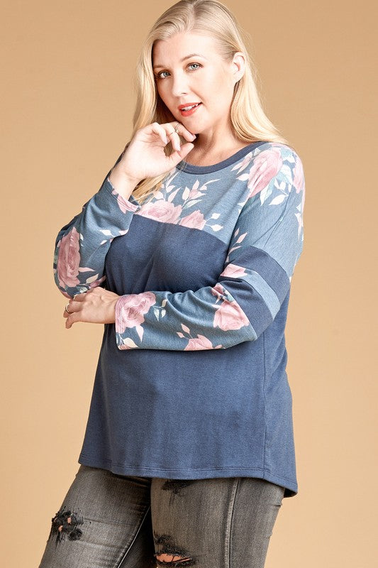 Floral Printed Yoke French Terry Top