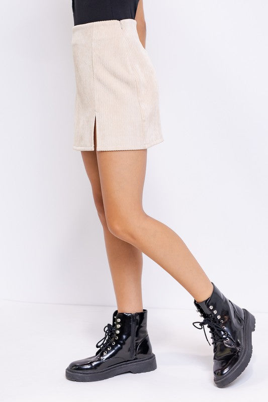 CORDUROY MINI SKIRT WITH SLIT