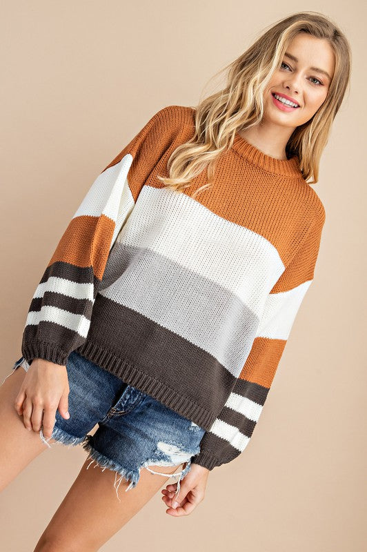 COLORBLOCK BISHOP SLEEVE MOCK NECK SWEATER