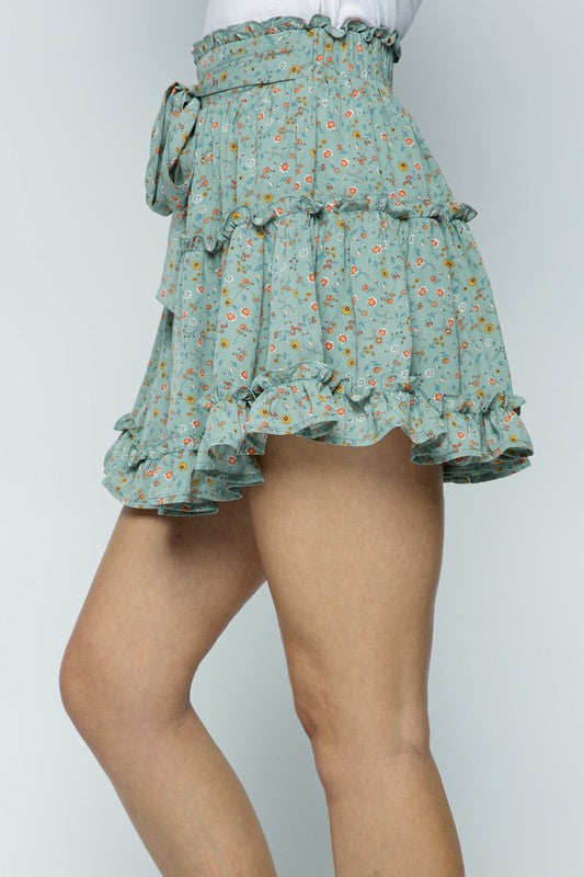 FLORAL RUFFLE TIERED SKIRT WITH WAIST TIE