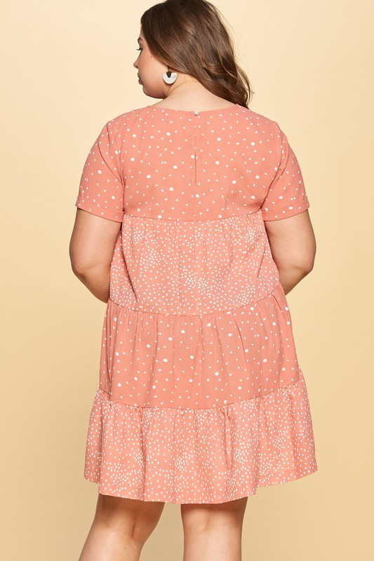 Polka Dot-Blocked Tiered Dress