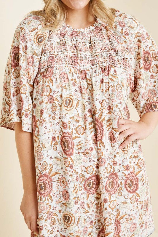 Plus Smocked Floral Shift Dress