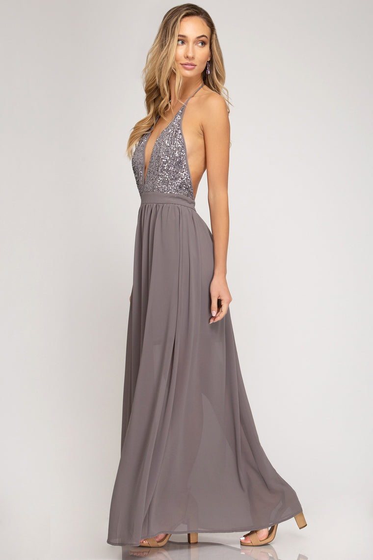 WOVEN MAXI DRESS WITH SEQUIN CAMI TOP