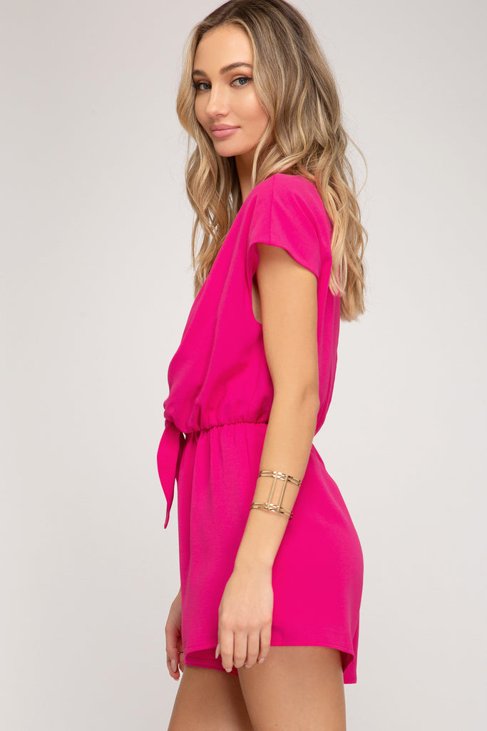 WOVEN ROMPER WITH FRONT TIE DETAILS
