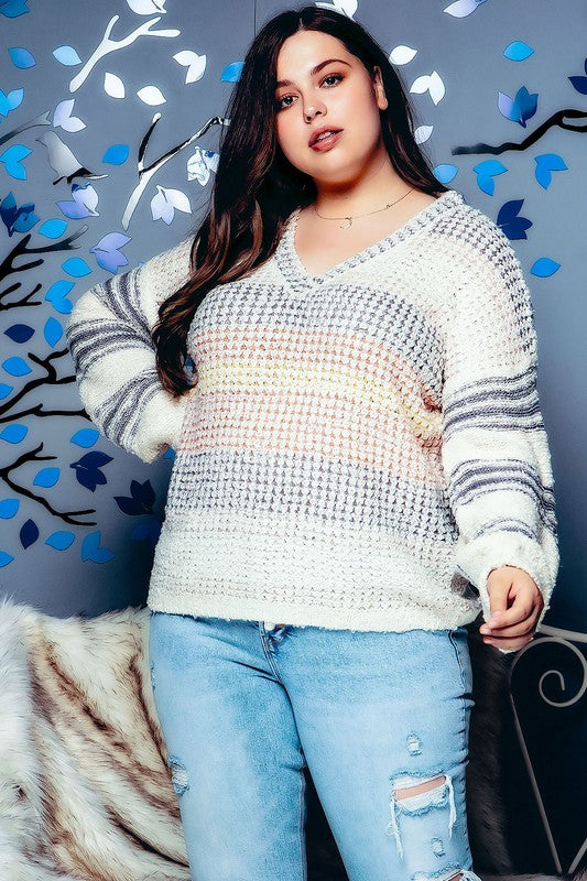 PLUS SIZE MULTI COLOR STRIPED KNIT V NECK SWEATER